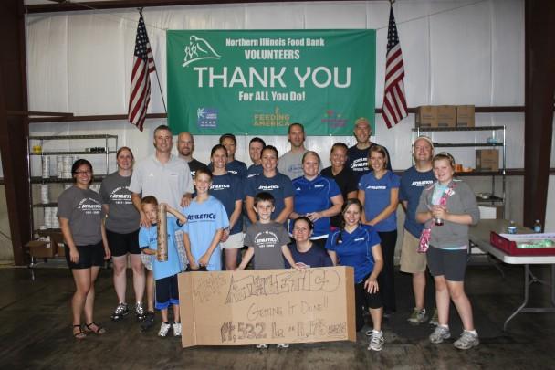 Athletico staff volunteers at the Northern Illinois Food Bank.