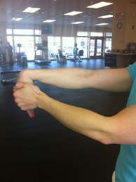 Wrist extensor stretch for lateral elbow pain