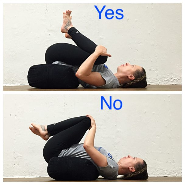 stretch of the week - supported hugging knees