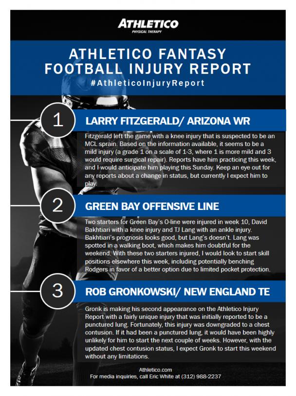 Athletico Fantasy Football Injury Report: Week 11
