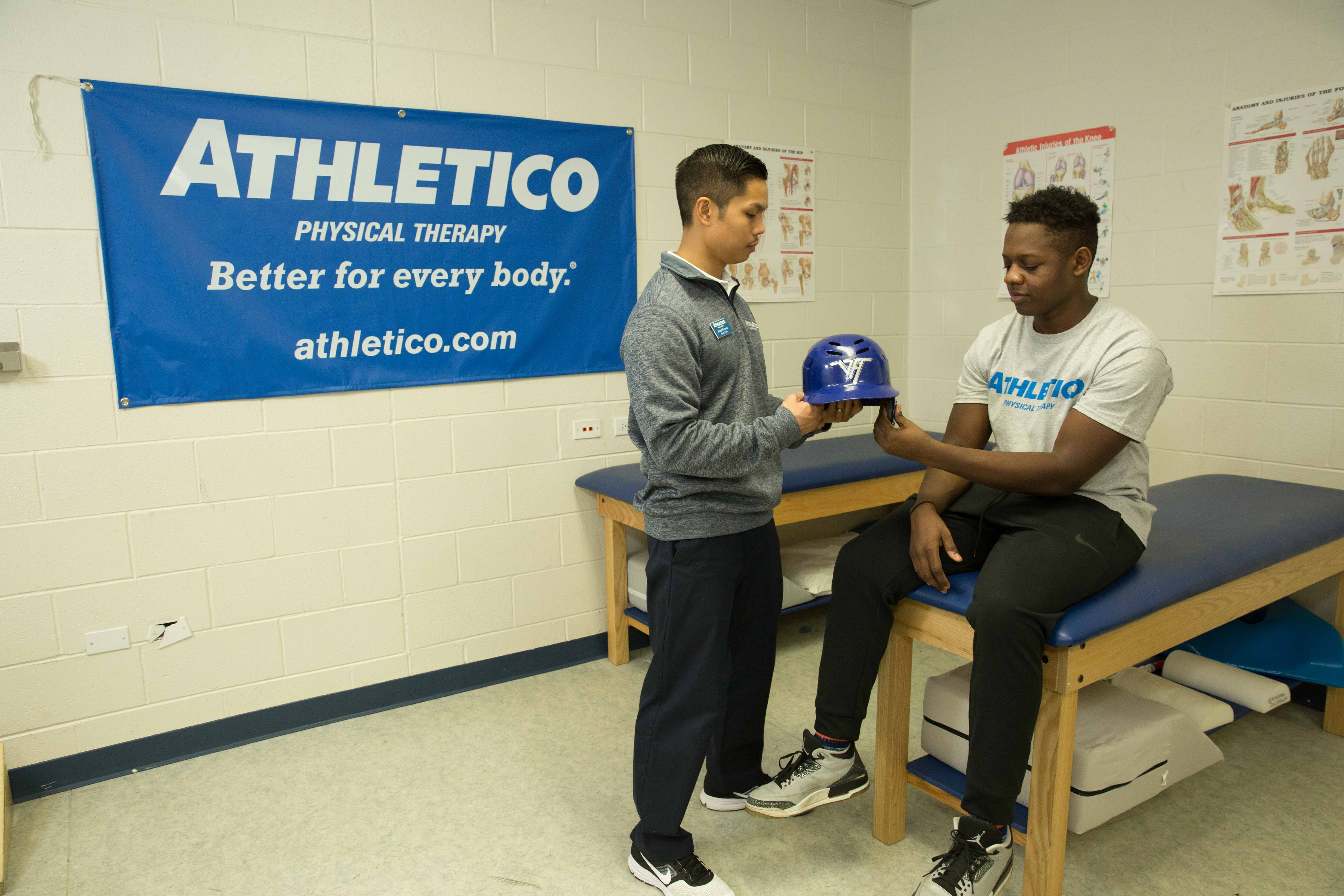 Jobs for impact physical therapy - Athletico Baseball Helmet Fitting 3