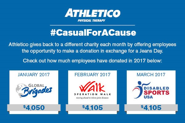 Jeans Day Athletico Gives Back: March 2017 Fundraising & Volunteer Initiatives