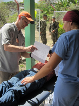 Athletico volunteers provide physical therapy treatment to patients in Honduras.