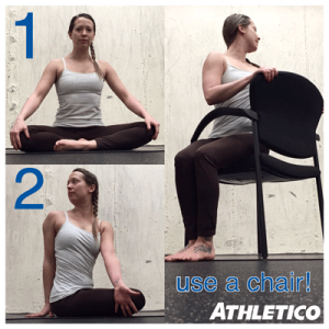 Easy Seated Twist to stretch the spine