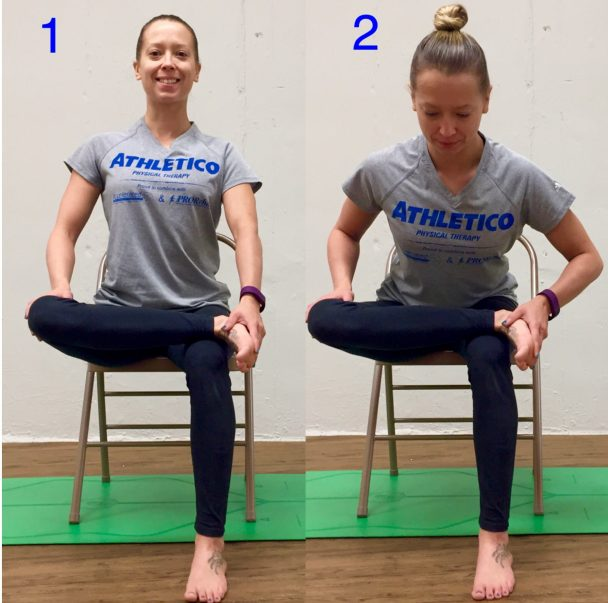 seated piriformis chair stretch of the week