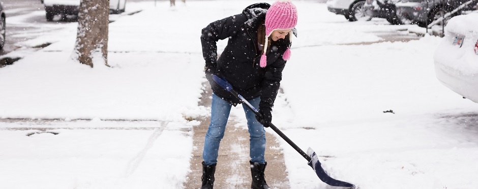 snow winter shoveling exercise tips